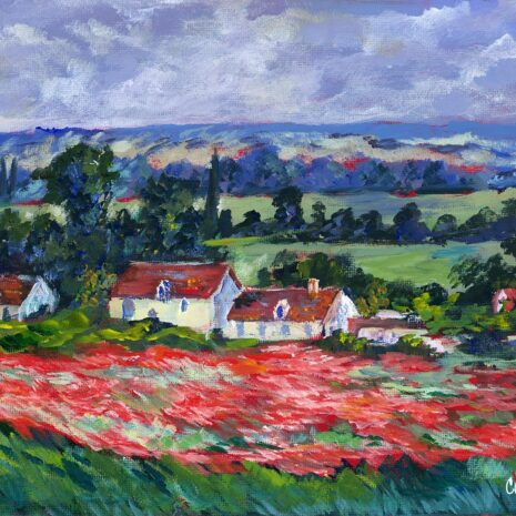 Red Field With Houses